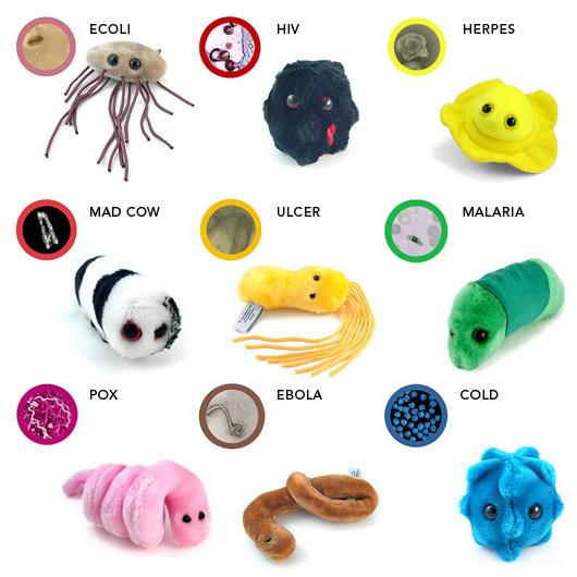 Les bestioles de la semaines microbes en peluche
